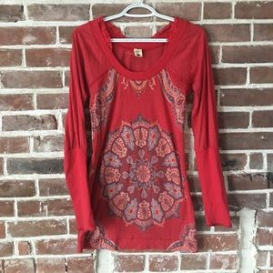 Free People red mandala top